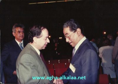د. سعد الله آغا القلعة مع الملحن الكبير محمد الموجي في مؤتمر الموسيقى العربية